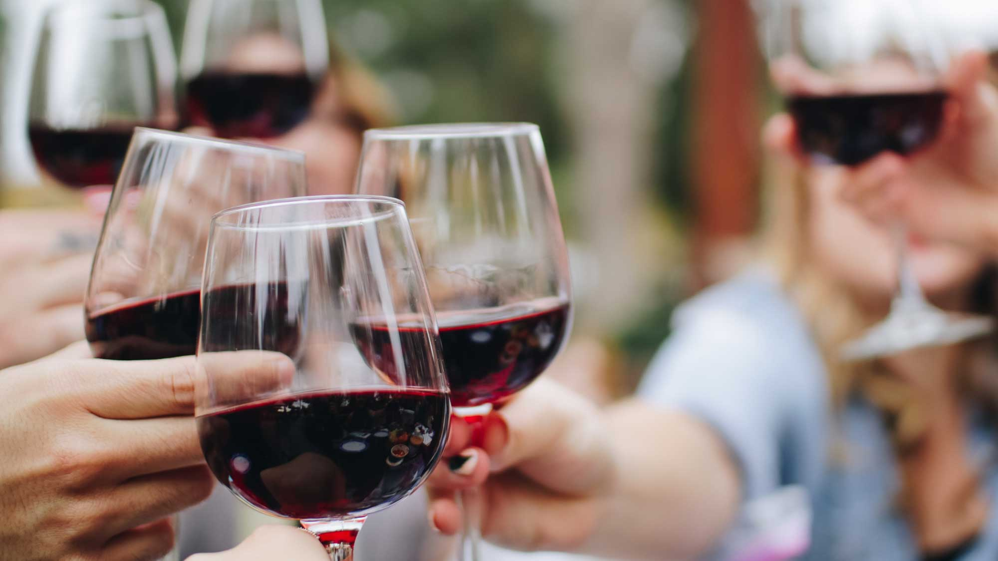 People drinking and toasting with red wine