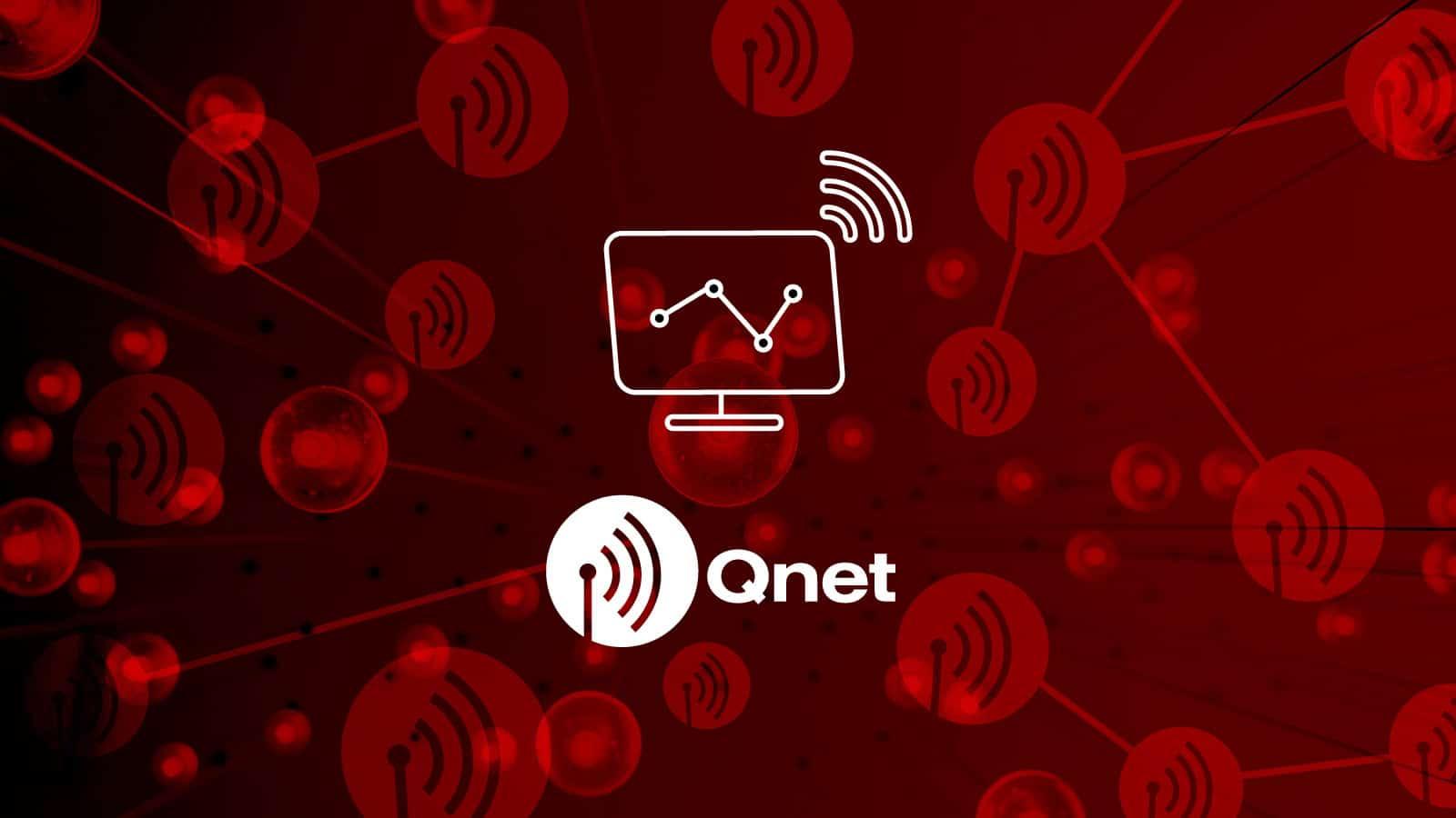 Logo Qnetu na červeném pozadí ukazující optické vlákno
