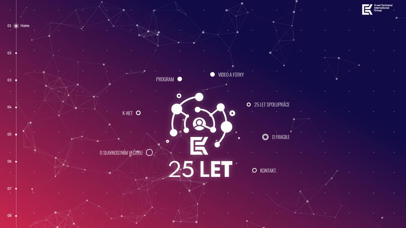 pohled na domovské stránce webu věnované 25 let K-net