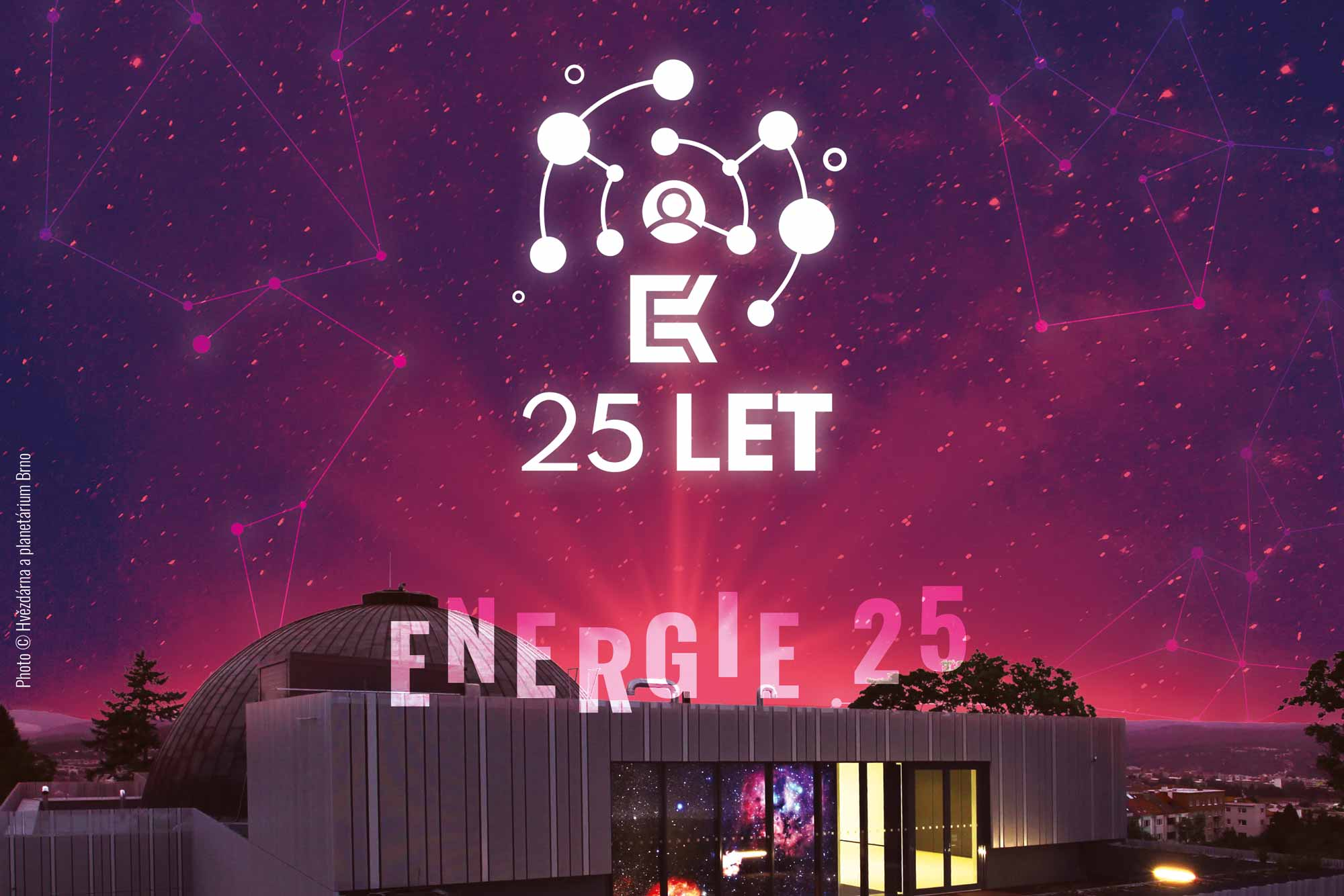 Logo of K-net on a picture of Planetarium in Brno in purple sunlight