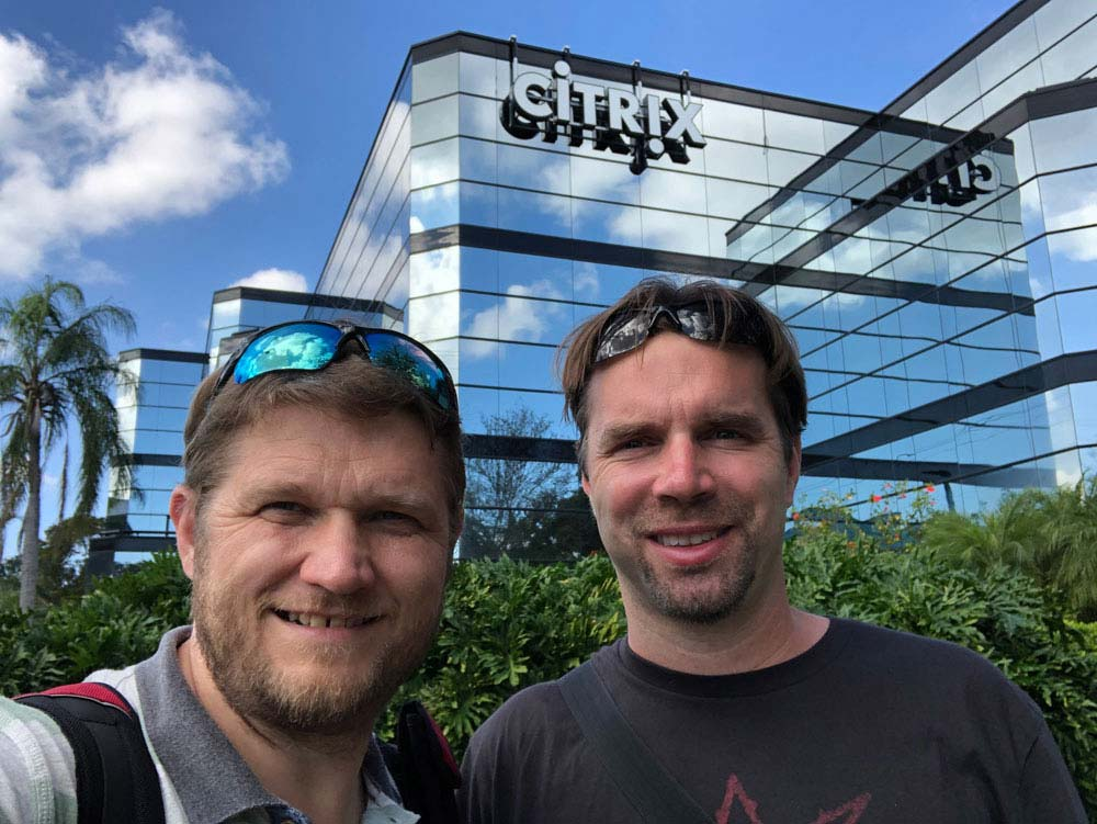 Portrait of Tomas and Petr in front of the Citrix building