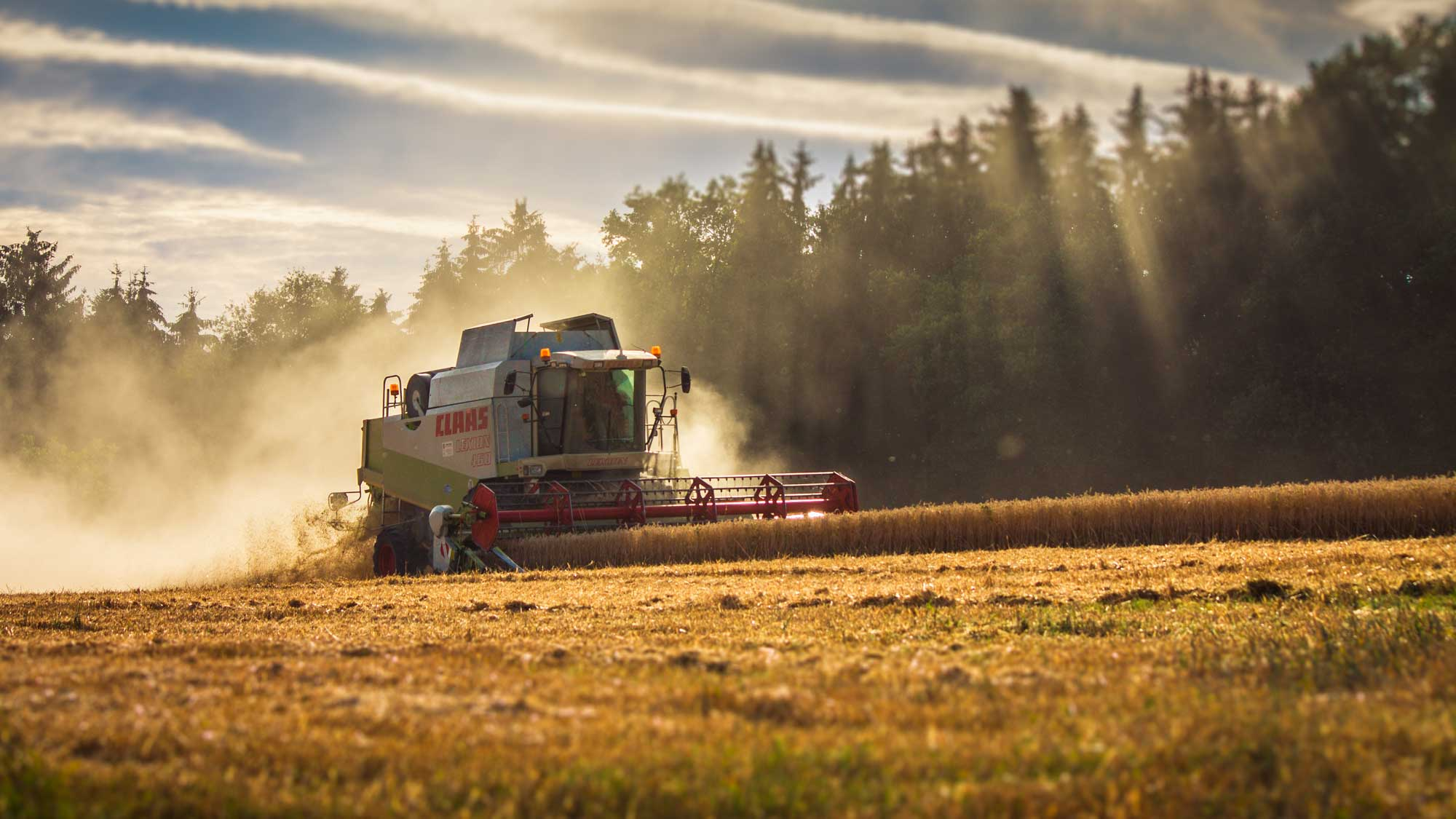 A tractor in a field with sunlight