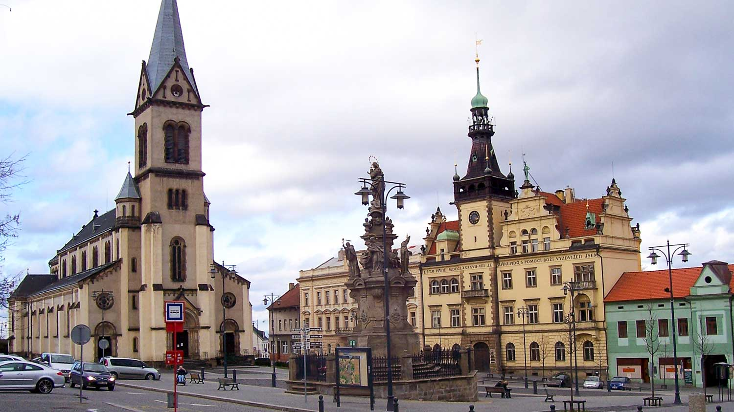 View of the square, the church, and the city hall in Kladno, Cezch Republic