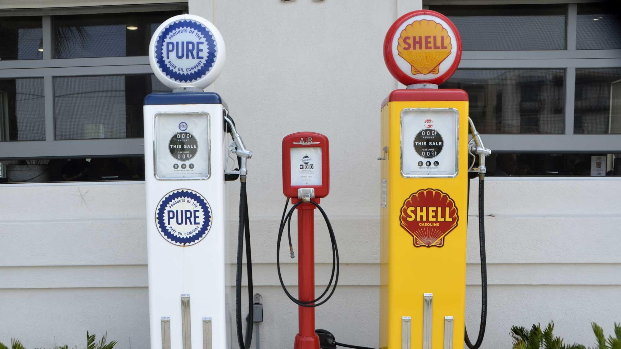 Vintage oil pump in gas station