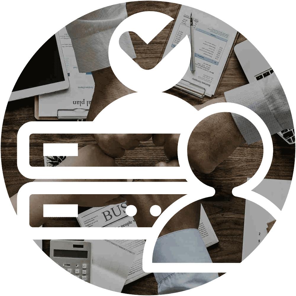 Icon XL of K-net service Zajištění provozu with a picture of team collaboration