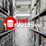 Logo K-net service netArchive and helves containing archives