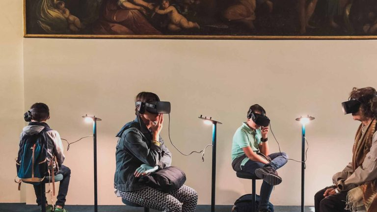 People visiting museum through AR glasses