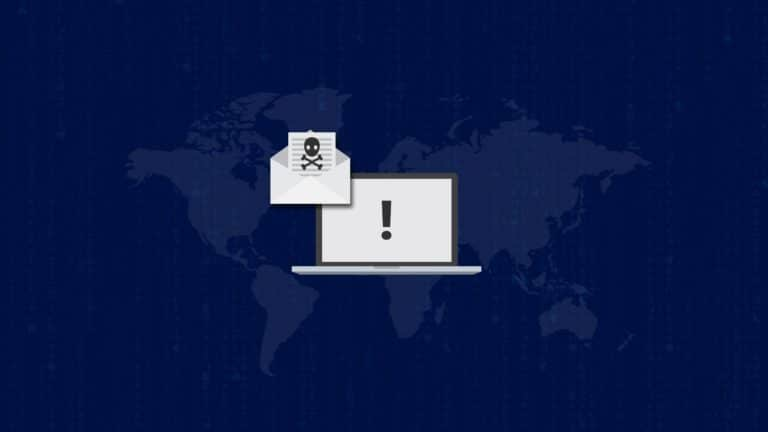 Sketch of a mail containing a skull on a blue background of world map