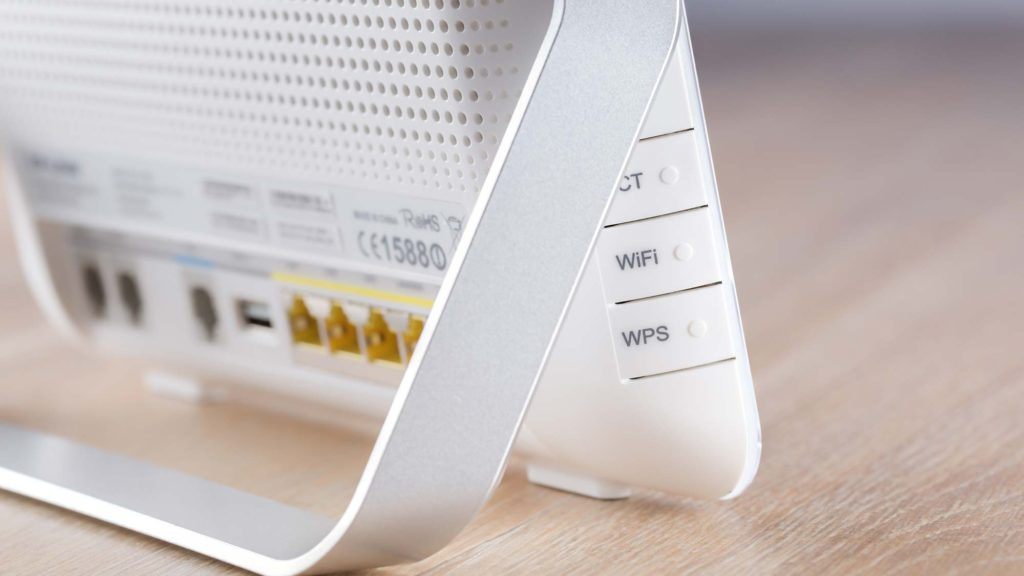 Focus on a white wi-fi access point