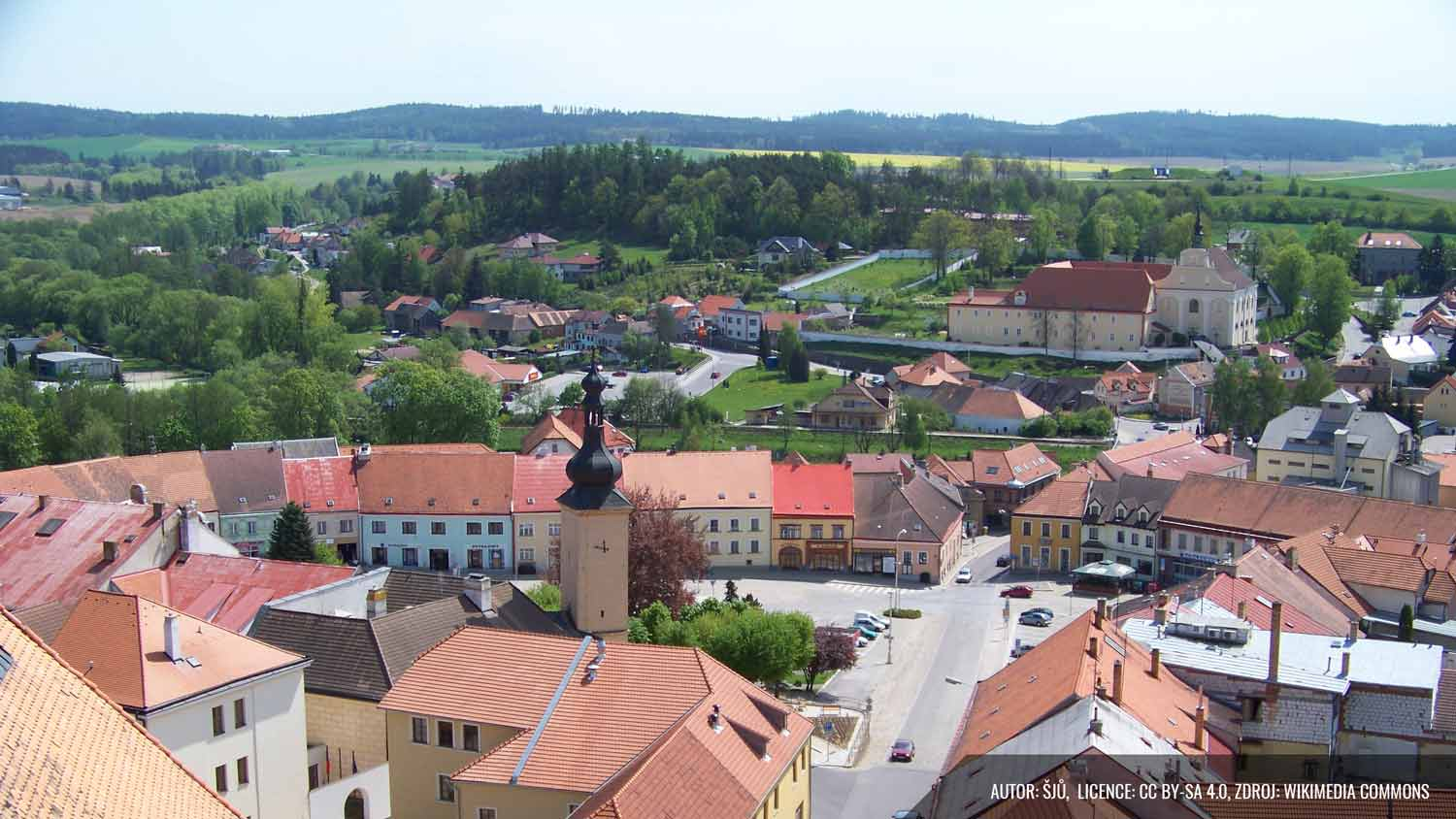 View from above of the city Dacice, in Czech Republic