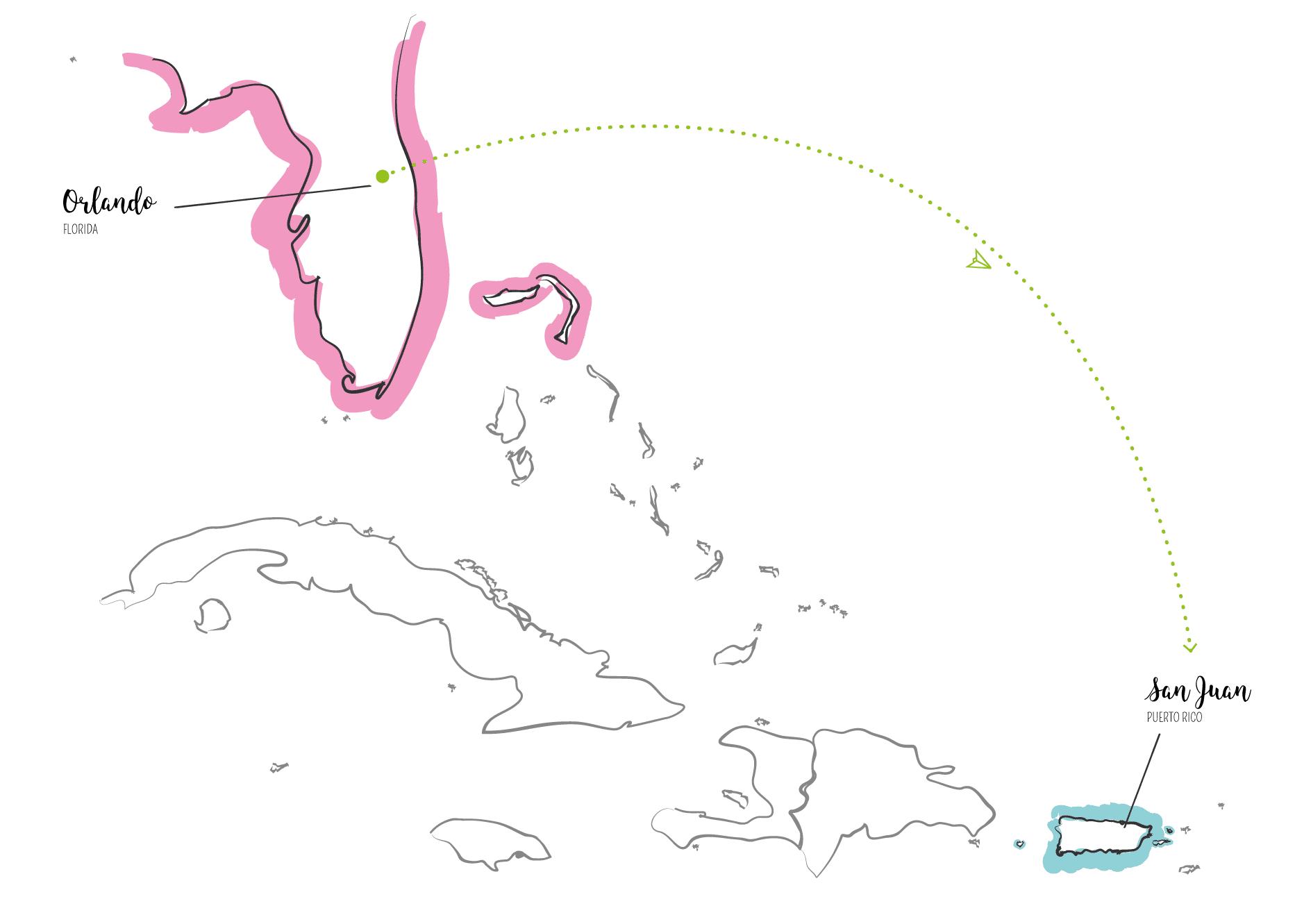 ilustrační mapa světa mezi Floridou aPortorikem
