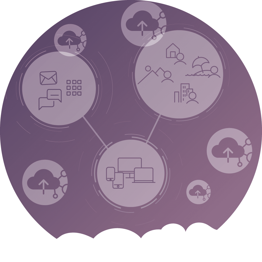icons showing the pros of the digital workspace on purple backgound and cloud vector