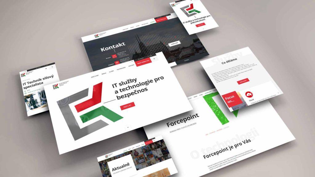 maketa představující několik stránek budoucího webu K-net