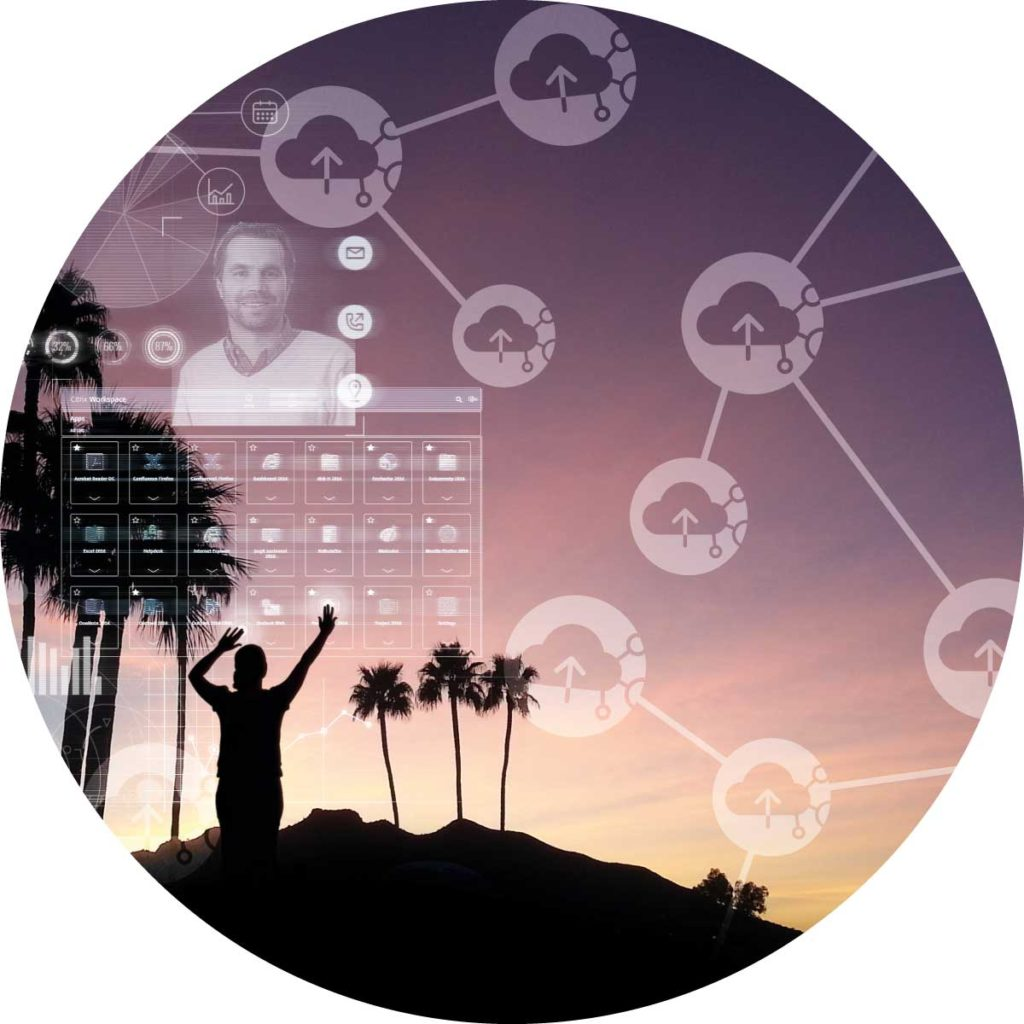 XL icon showing awoman using an hologram interface in the sky and cloud icons