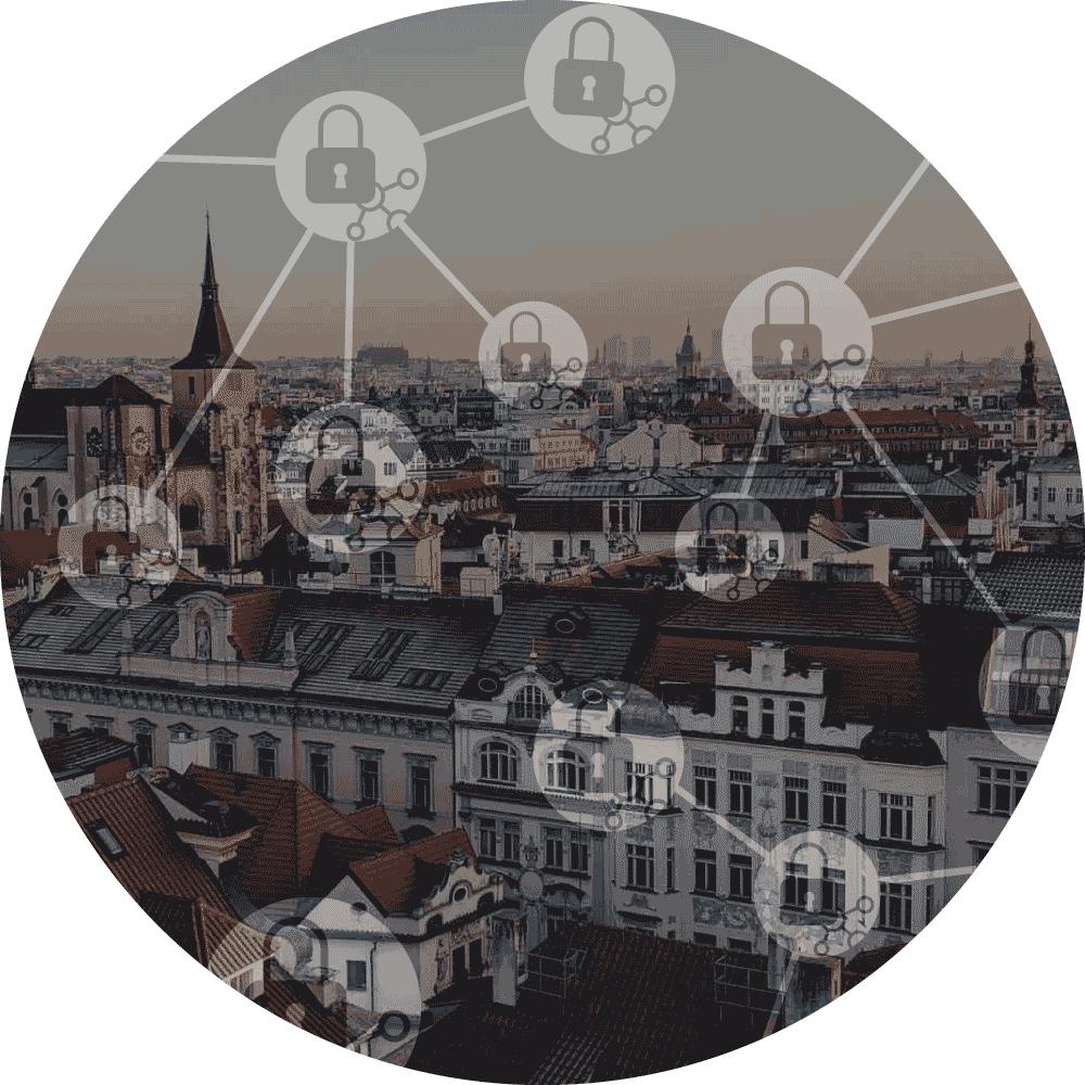 letecký pohled na Prahu s ikonami GDPR