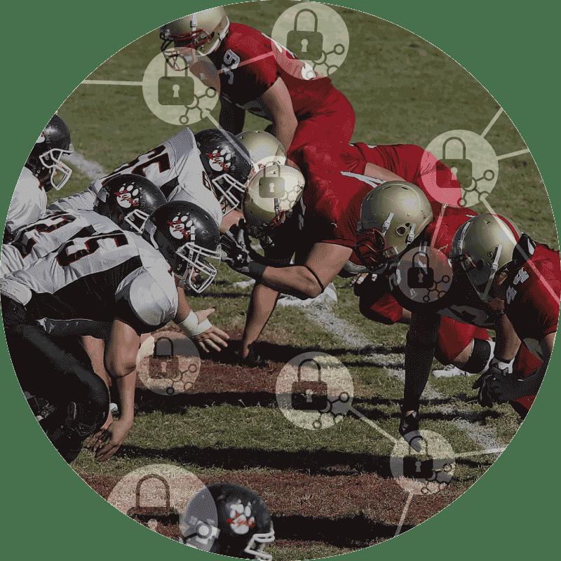 XL ikona Penetrační testování, dva americké fotbalové týmy soutěží v skrumáži