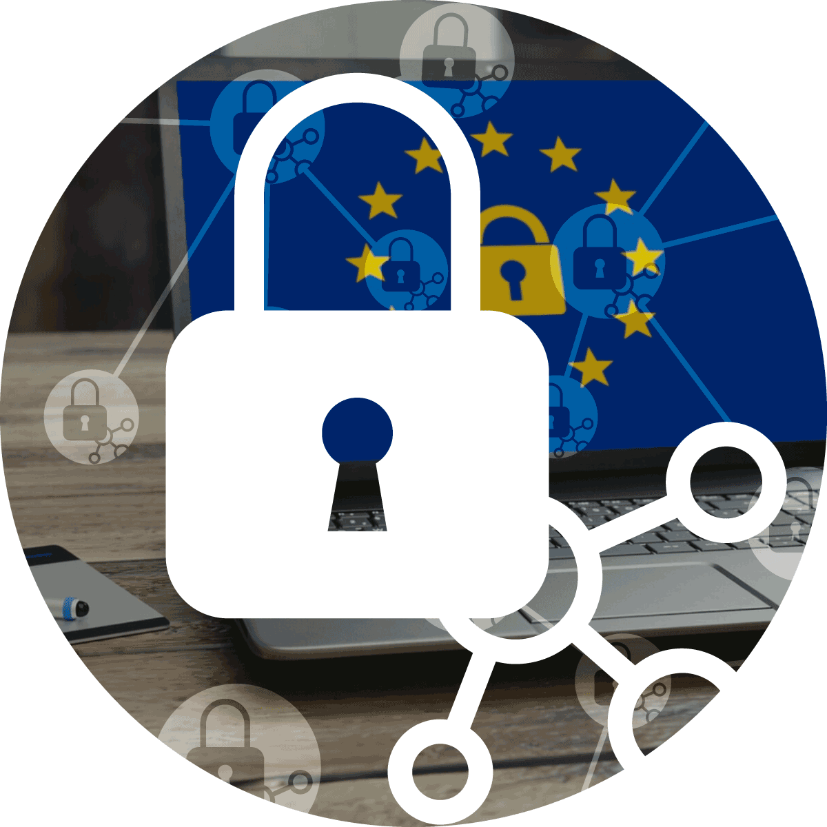 XL icon of the K-net set of services GDPR Trio showing a lock and connectors