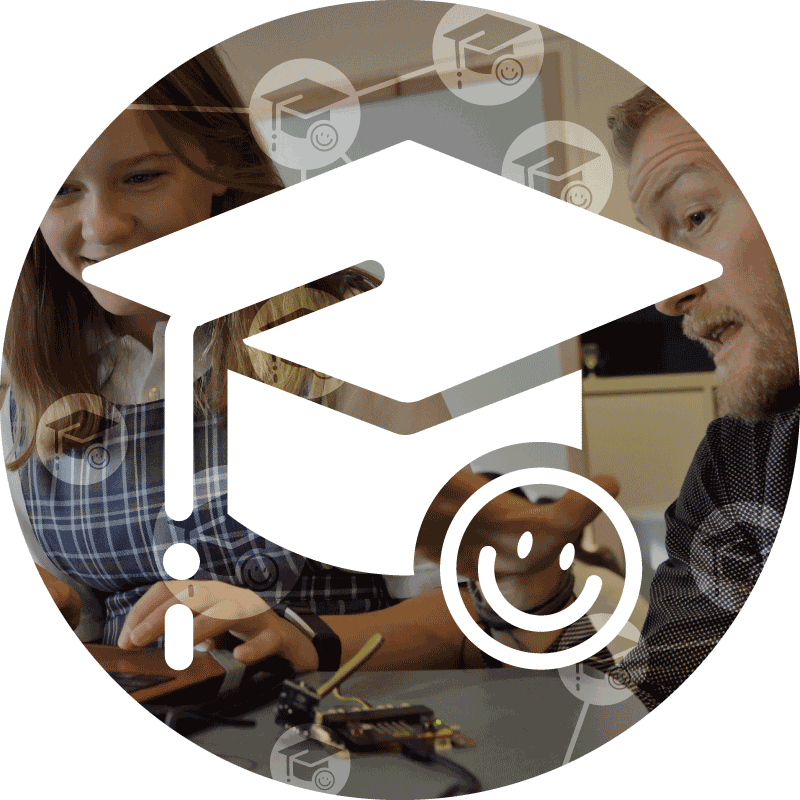 XL ikona Vzdělávání, učitel ukazuje holce, jak používat počítač, s ikonami služeb K-net Vzdělávání pro školy
