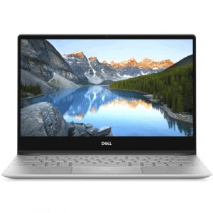 Pohled na počítač Dell, jehož obrazovka zobrazuje hory ajezero