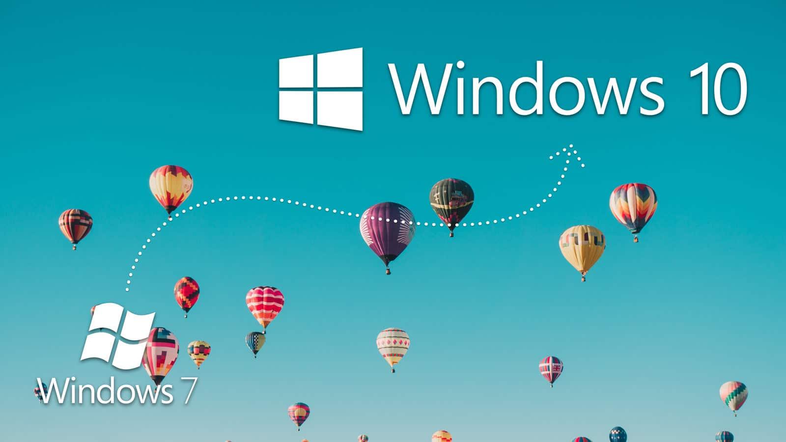 Loga Windows 7 a Windows 10 na pozadí představující let horkovzdušných balónů