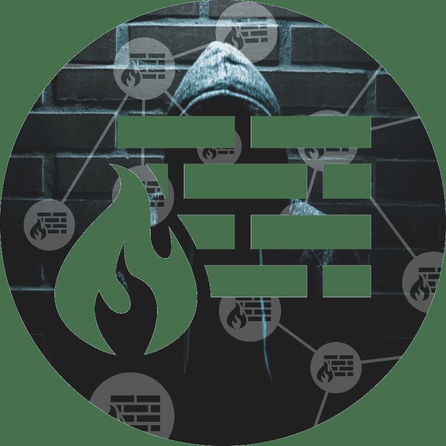 XL Ikona služby netDispatcher NGFW představující hackera před cihlovou zeď