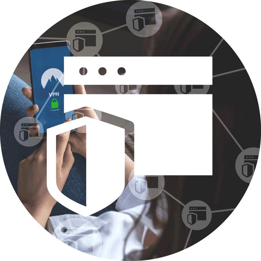 XL Ikona služby netDispatcher WAF představující ženu používající VPN na svém mobilním telefonu