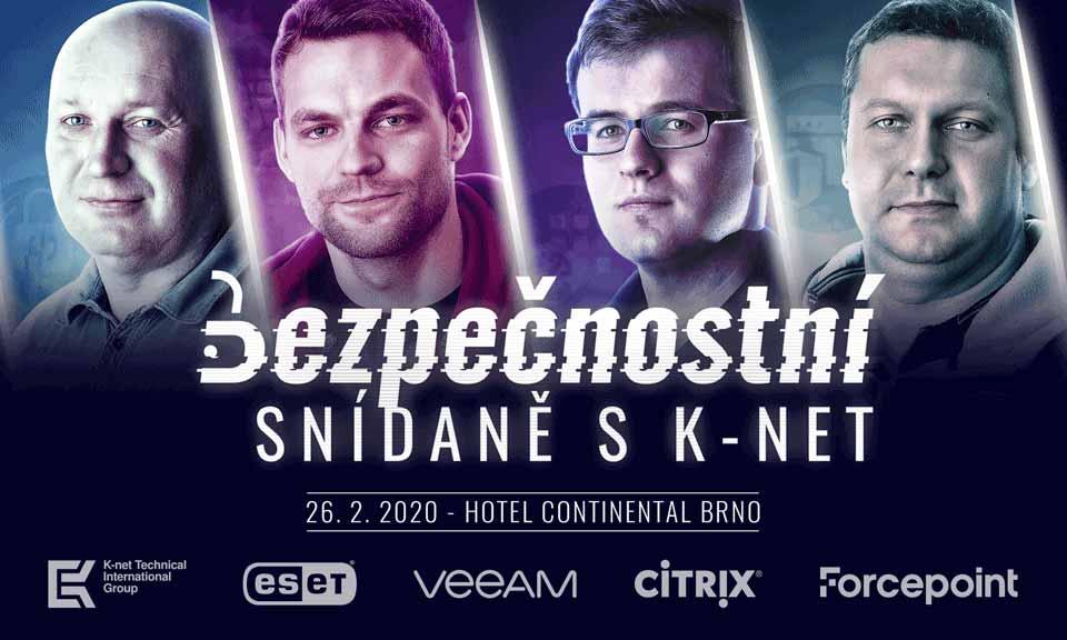 plakát představující 4 zaměstnance společnosti K-net jako superhrdinové s partnerskými logy