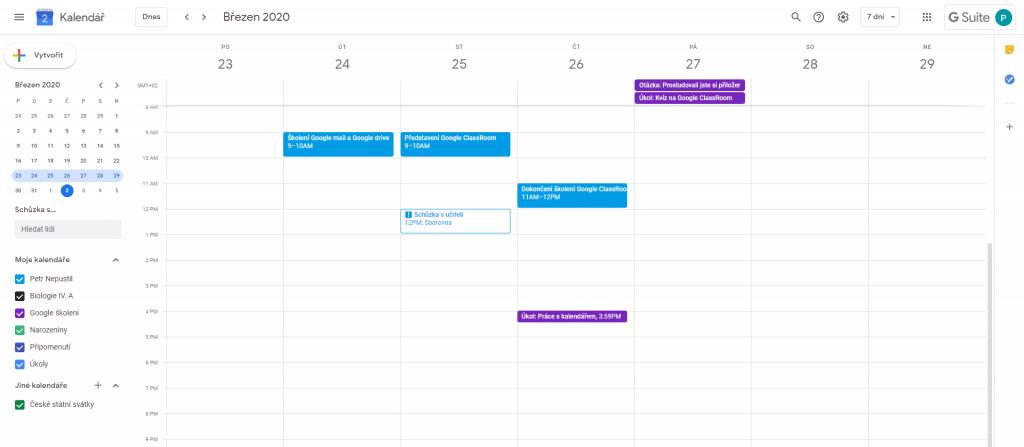 Kalendář súkoly vGoogle Classroom.