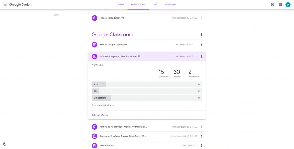 Vyhodnocení otázky položené vGoogle Classroom.