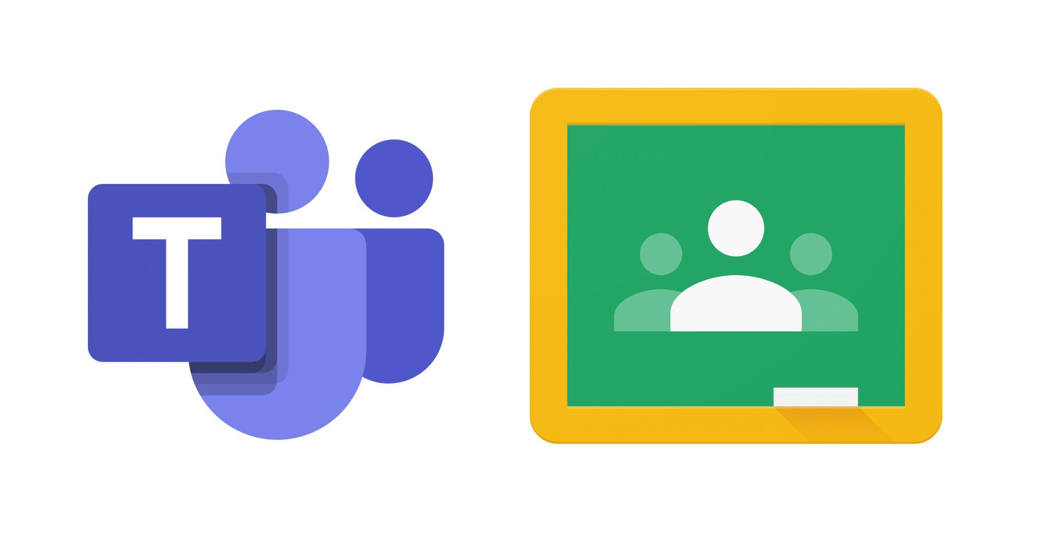 Loga Microsoft Teams a Google Classroom