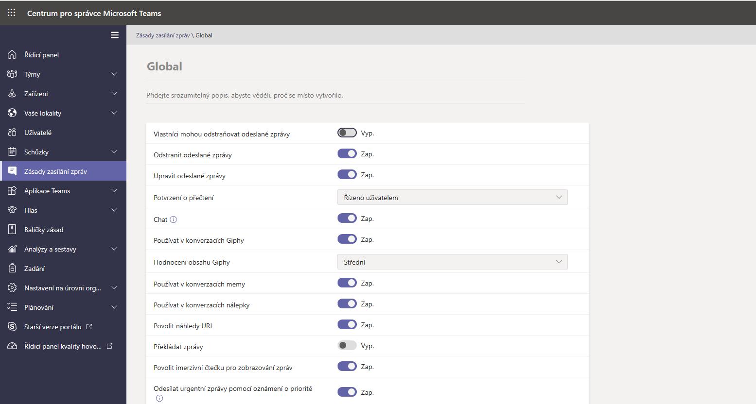 Centrum pro správce Microsoft Teams - nastavení zpráv