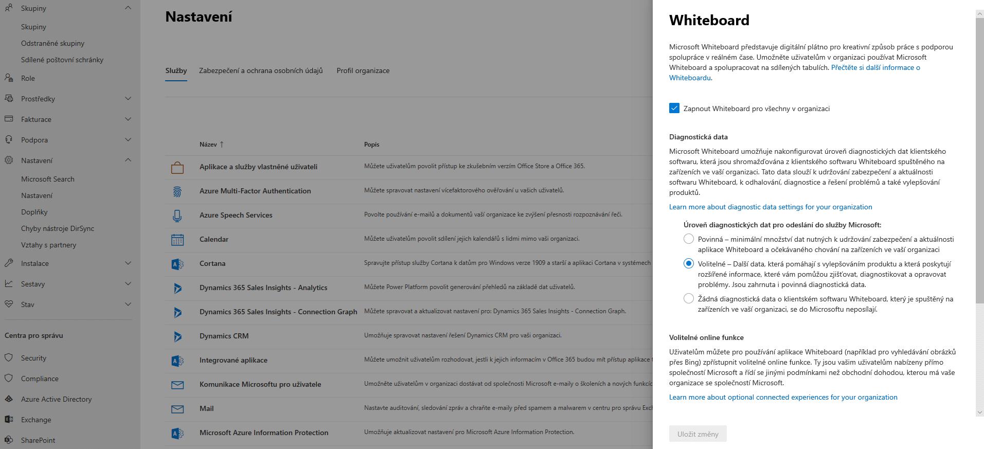 Microsoft Teams nastavení Whiteboard