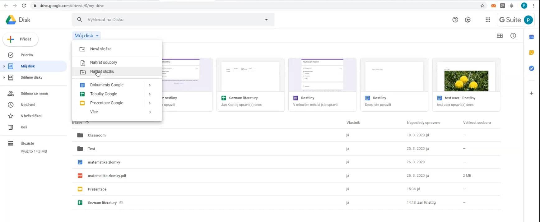 Na Google Disk lze nahrát soubory isložku