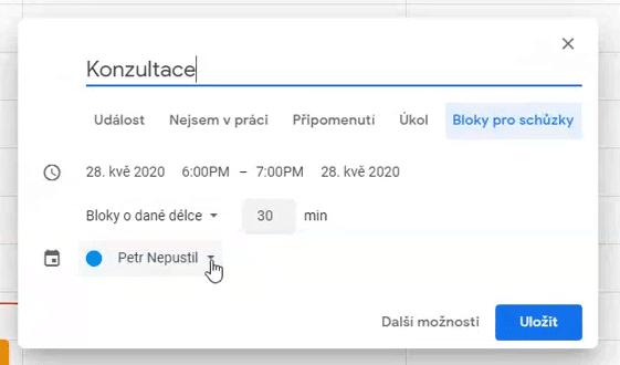 Okno plánování konzultace vGoogle Classroom