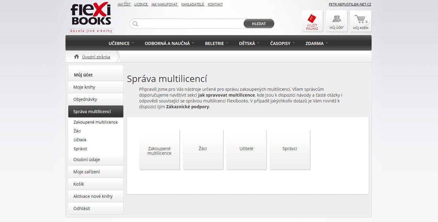 Ukázka stránky správy multilicencí ve Flexibooks