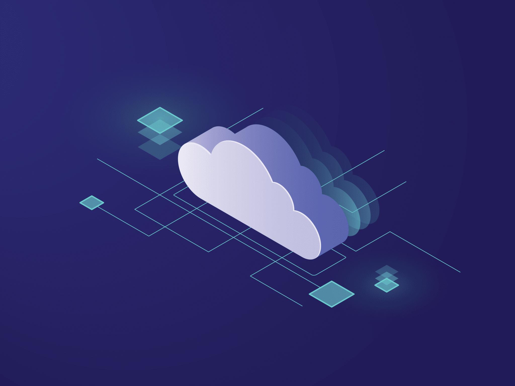 Ilustrace cloudu a propojení na něj