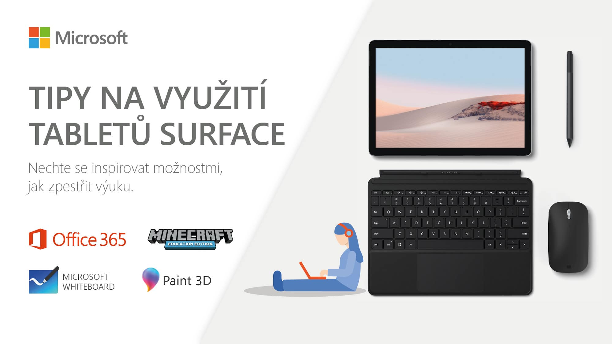 Banner na webinář K-net o využití Surface ve výuce
