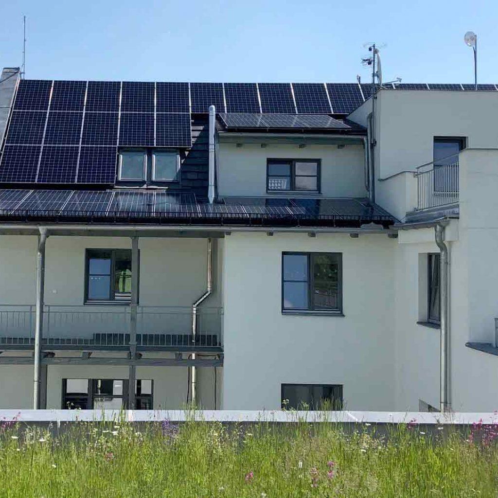 pohled na fotovoltaické panely vOlesnici